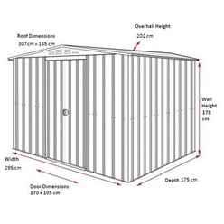 10ft x 8ft Premier EasyFix – Apex – Metal Shed - Aluminium White (3.07m x 2.16m)