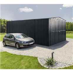 **PRE-ORDER ONLY - BACK IN STOCK MID JUNE** 10ft x 17ft EasyFix Double Hinged Anthracite Grey Metal Garage (3.07m x 5.26m)