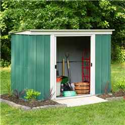 8ft x 4ft Rowlinson Green Metal Pent Shed (2540mm x 1190mm)