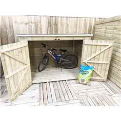 INSTALLED 6FT x 4FT Pressure Treated Tongue & Groove Bike Store + Double Doors