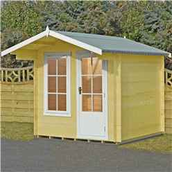 2.4m x 2.4m Premier Apex Log Cabin With Interchangeable Door and Window + Free Floor & Felt (19mm)