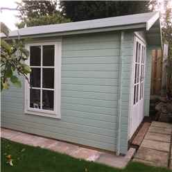 2.4m x 2.4m Premier Apex Log Cabin With Double Doors and Side Window + Free Floor & Felt (19mm)