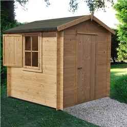 INSTALLED - 2.7m x 2.7m Premier Apex Log Cabin With Single Door and Window Shutter + Free Floor & Felt (19mm)