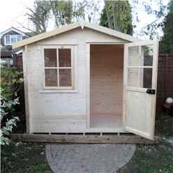 INSTALLED - 2.4m x 2.4m Premier Log Cabin With Half Glazed Single Door - Opening Window + Free Floor & Felt (19mm)