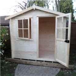 INSTALLED -  2.7m x 2.7m Premier Log Cabin With Half Glazed Single Door With Opening Window + Free Floor & Felt (19mm)