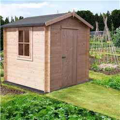 INSTALLED -  2m x 2m Premier Apex Log Cabin With Single Door and Opening Window + Free Floor & Felt (19mm)