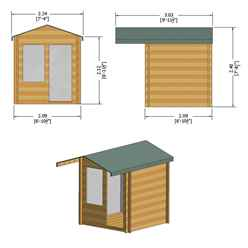 INSTALLED -  2m x 2m Premier Apex Log Cabin With Interchangeable Door and Window + Free Floor & Felt (19mm) INSTALLATION INCLUDED