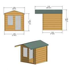 INSTALLED - 2.4m x 2.4m Premier Apex Log Cabin With Interchangeable Door and Window + Free Floor & Felt (19mm)