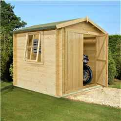 INSTALLED - 2m x 2m Premier Apex Log Cabin With Double Doors + Side Window + Free Floor & Felt (19mm)