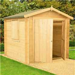 INSTALLED - 2.7m x 2.7m Premier Apex Log Cabin With Double Doors + Side Window + Free Floor & Felt (19mm)
