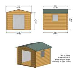 INSTALLED - 2.7m x 2.7m Premier Apex Log Cabin With Double Doors + Side Window + Free Floor & Felt (19mm) INSTALLATION INCLUDED