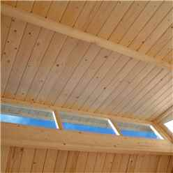 7ft x 7ft Skylight Shed - Double Doors - 19mm Tongue + Groove Walls, Floor + Roof - Painted Light Grey