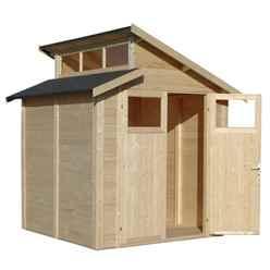 7ft x 7ft Skylight Shed - Double Doors - 19mm T + G Walls, Floor + Roof