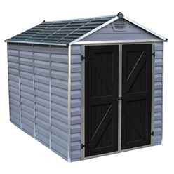 10ft x 6ft (3.03m x 1.85m) Double Door Apex Plastic Shed with Skylight Roofing