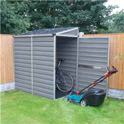 INSTALLED 6ft x 4ft (1.75m x 1.17m) Single Door Pent Plastic Shed with Skylight Roofing INCLUDES INSTALLATION