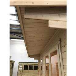 2.4m x 3.6m Premier Reverse Apex Home Office Log Cabin (Single Glazing) - Free Floor & Felt (70mm)
