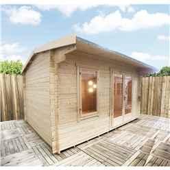 3.0m x 3.0m Premier Reverse Apex Home Office Log Cabin (Single Glazing) - Free Floor & Felt (28mm)