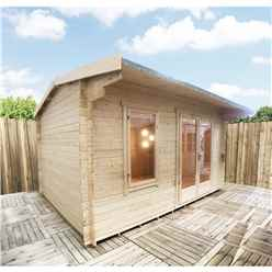 4.2m x 3.6m Premier Reverse Apex Home Office Log Cabin (Single Glazing) - Free Floor & Felt (34mm)