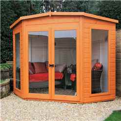 7ft x 7ft (2.69m x 2.05m) - Premier Corner Wooden Summerhouse - Double Doors - Side Windows - 12mm T&G Walls & Floor (Show Site)