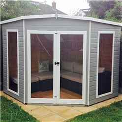 8ft x 8ft (2.25m x 2.25m) - Premier Corner Wooden Summerhouse - Double Doors - Side Windows - 12mm T&G Walls & Floor (CORE)