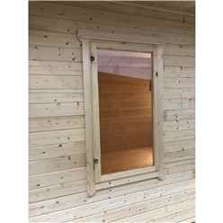 INSTALLED 2.4m x 3.6m Premier Reverse Apex Home Office Log Cabin (Single Glazing) - Free Floor & Felt (44mm) - INSTALLATION INCLUDED