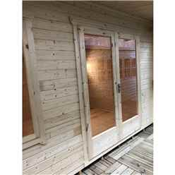 INSTALLED 4.2m x 3.0m Premier Reverse Apex Home Office Log Cabin (Single Glazing) - Free Floor & Felt (44mm) - INSTALLATION INCLUDED