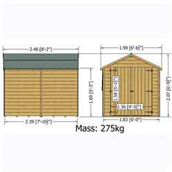INSTALLED 8ft x 6ft (2.39m x 1.82m) - Dip Treated Overlap -  Apex Garden Shed - Windowless - Double Doors - 10mm Solid OSB Floor INSTALLATION INCLUDED