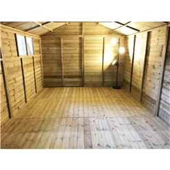 11FT x 10FT PREMIER PRESSURE TREATED TONGUE & GROOVE APEX WORKSHOP + 6 WINDOWS + HIGHER EAVES & RIDGE HEIGHT + DOUBLE DOORS (12mm Tongue & Groove Walls, Floor & Roof) + SAFETY TOUGHENED GLASS