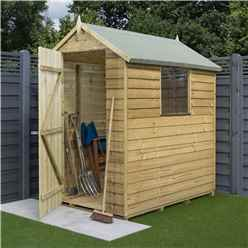 6ft x 4ft Rowlinson Pressure Treated Overlap Shed - Single Door and 1 Window