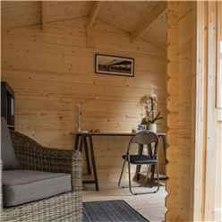 4.2m x 3.3m Home Office Apex Log Cabin - 28mm Wall Thickness