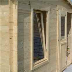 3.4m x 3m  Retreat Apex Log Cabin - 19mm Wall Thickness