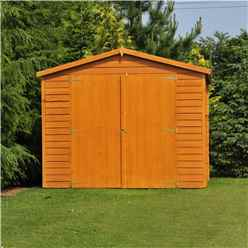 INSTALLED 15ft x 10ft (4.52m x 2.99m) Windowless Dip Treated Overlap Apex Wooden Garden Shed With Double Doors INSTALLATION INCLUDED