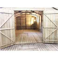 INSTALLED - 19FT x 12FT PREMIER PRESSURE TREATED TONGUE & GROOVE APEX WORKSHOP + 8 WINDOWS + HIGHER EAVES & RIDGE HEIGHT + DOUBLE DOORS (12mm Tongue & Groove Walls, Floor & Roof)