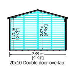 20ft x 10ft (6.05m x 2.99m) Windowless Dip Treated Overlap Apex Wooden Garden Shed With Double Doors (11mm Solid OSB Floor)