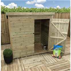 INSTALLED 4ft x 3ft Windowless Pressure Treated Tongue And Groove Pent Shed With Single Door - INCLUDES INSTALLATION