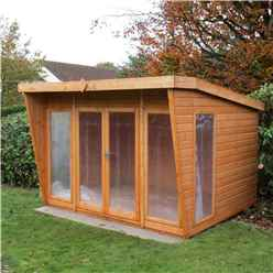 INSTALLED 10ft x 8ft (3.06m x 2.39m) - Premier Wooden Summerhouse - Double Doors - 12mm T&G Walls & Floor - INSTALLATION INCLUDED