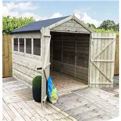 7FT x 6FT PREMIER PRESSURE TREATED TONGUE & GROOVE APEX SHED + 3 WINDOWS + HIGHER EAVES & RIDGE HEIGHT + DOUBLE DOORS