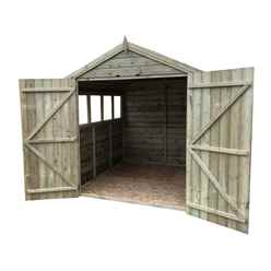 8FT x 6FT PREMIER PRESSURE TREATED TONGUE & GROOVE APEX SHED WITH 4 WINDOWS + HIGHER EAVES & RIDGE HEIGHT + DOUBLE DOORS + SAFETY TOUGHENED GLASS