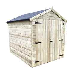 6FT x 6FT WINDOWLESS PREMIER PRESSURE TREATED TONGUE & GROOVE APEX SHED + HIGHER EAVES & RIDGE HEIGHT + DOUBLE DOORS
