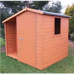 INSTALLED 7ft x 6ft (2.22m x 1.95m) - Tongue And Groove - Apex Shed With Log Store - 1 Window - Single Door - 12mm Tongue And Groove Floor & Roof - INSTALLATION INCLUDED