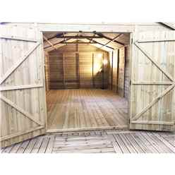 INSTALLED - 18FT x 13FT PREMIER WINDOWLESS PRESSURE TREATED TONGUE & GROOVE APEX WORKSHOP + 8 WINDOWS + HIGHER EAVES & RIDGE HEIGHT + DOUBLE DOORS (12mm Tongue & Groove Walls, Floor & Roof)
