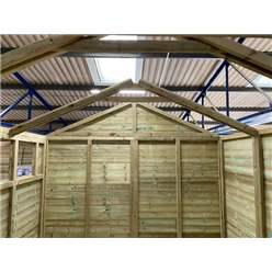 12FT x 11FT REVERSE PREMIER PRESSURE TREATED TONGUE & GROOVE APEX WORKSHOP + 6 WINDOWS + HIGHER EAVES & RIDGE HEIGHT + DOUBLE DOORS (12mm Tongue & Groove Walls, Floor & Roof) + SAFETY TOUGHENED GLASS