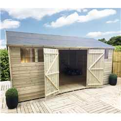 18FT x 11FT REVERSE PREMIER PRESSURE TREATED TONGUE & GROOVE APEX WORKSHOP + 4 WINDOWS + HIGHER EAVES & RIDGE HEIGHT + DOUBLE DOORS (12mm Tongue & Groove Walls, Floor & Roof) + SAFETY TOUGHENED GLASS