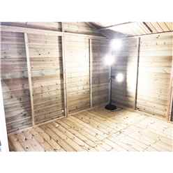 10FT x 13FT REVERSE PREMIER PRESSURE TREATED TONGUE & GROOVE APEX WORKSHOP + 6 WINDOWS + HIGHER EAVES & RIDGE HEIGHT + DOUBLE DOORS (12mm Tongue & Groove Walls, Floor & Roof) + SAFETY TOUGHENED GLASS