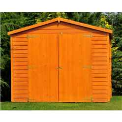 INSTALLED 20ft x 10ft (6.05m x 2.99m) Windowless Dip Treated Overlap Apex Wooden Garden Shed With Double Doors (11mm Solid OSB Floor)