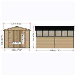 INSTALLED 12ft x 8ft (3.59m x 2.39m) - Windowless Dip Treated Overlap - Apex Garden Shed - Double Doors - 11mm Solid OSB Floor