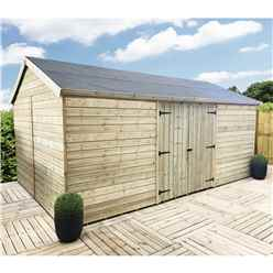 12FT x 11FT WINDOWLESS REVERSE PREMIER PRESSURE TREATED TONGUE & GROOVE APEX WORKSHOP + HIGHER EAVES & RIDGE HEIGHT + DOUBLE DOORS (12mm Tongue & Groove Walls, Floor & Roof)