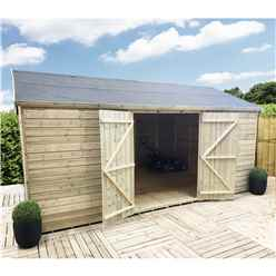 10FT x 12FT WINDOWLESS REVERSE PREMIER PRESSURE TREATED TONGUE & GROOVE APEX WORKSHOP + HIGHER EAVES & RIDGE HEIGHT + DOUBLE DOORS (12mm Tongue & Groove Walls, Floor & Roof)