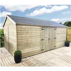 11FT x 13FT WINDOWLESS REVERSE PREMIER PRESSURE TREATED TONGUE & GROOVE APEX WORKSHOP + HIGHER EAVES & RIDGE HEIGHT + DOUBLE DOORS (12mm Tongue & Groove Walls, Floor & Roof)