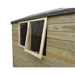 INSTALLED 8ft x 6ft (2.48m x 1.96m) Pressure Treated  Apex Tongue and Groove Shed With Single Door and 2 Opening Windows